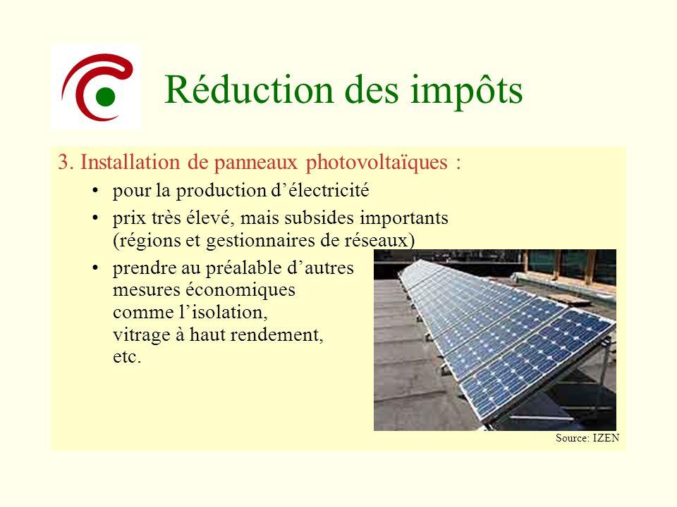 Réduction des impôts 3. Installation de panneaux photovoltaïques : pour la production délectricité prix très élevé, mais subsides importants (régions