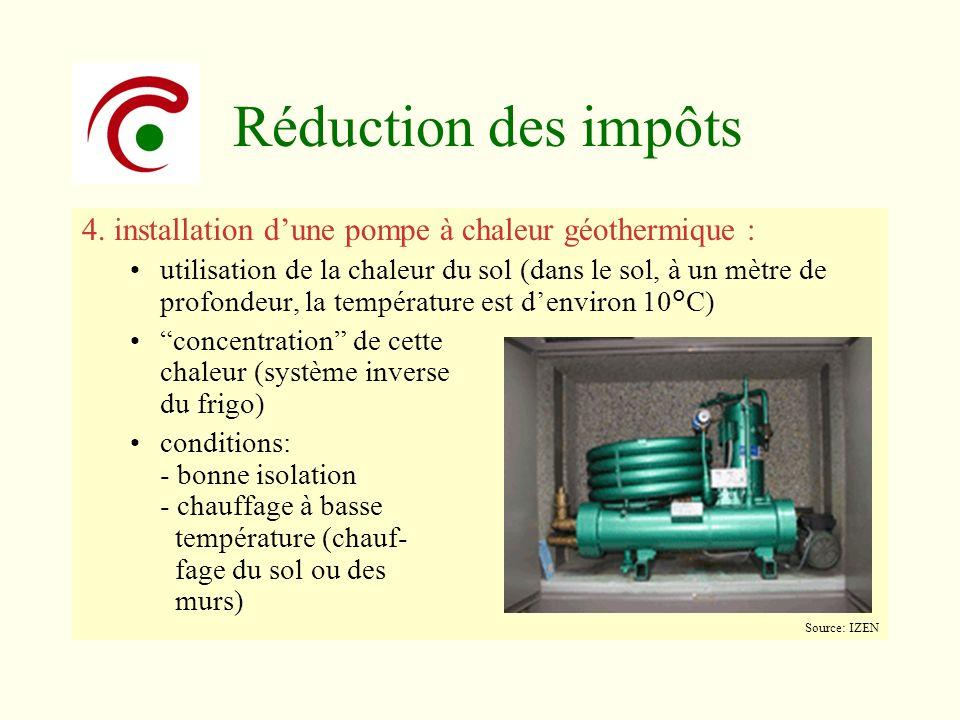Réduction des impôts 4. installation dune pompe à chaleur géothermique : utilisation de la chaleur du sol (dans le sol, à un mètre de profondeur, la t