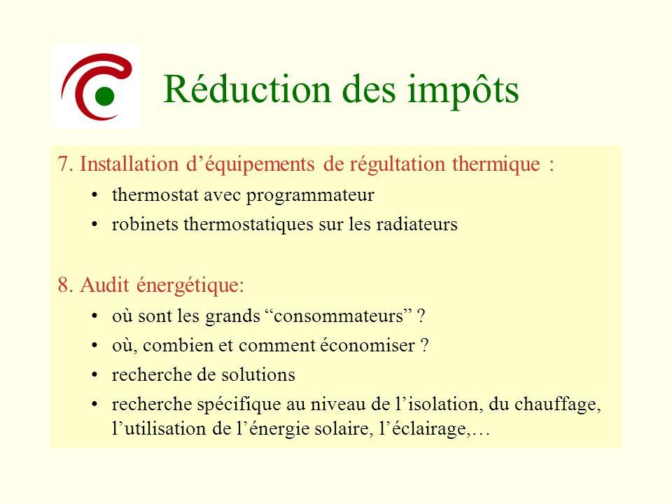 Réduction des impôts 7. Installation déquipements de régultation thermique : thermostat avec programmateur robinets thermostatiques sur les radiateurs