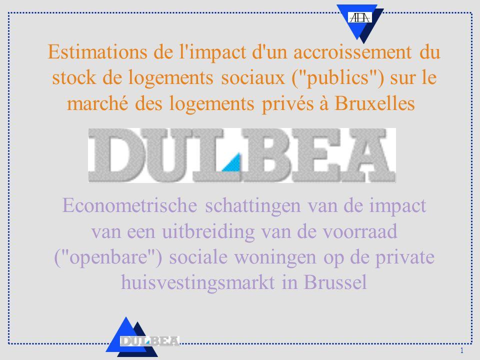 1 Estimations de l impact d un accroissement du stock de logements sociaux ( publics ) sur le marché des logements privés à Bruxelles Econometrische schattingen van de impact van een uitbreiding van de voorraad ( openbare ) sociale woningen op de private huisvestingsmarkt in Brussel