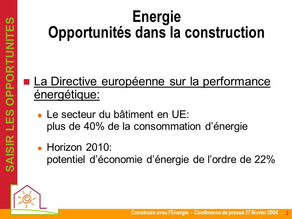 Construire avec lEnergie - Conférence de presse 27 février 2004 2 Energie Opportunités dans la construction La Directive européenne sur la performance