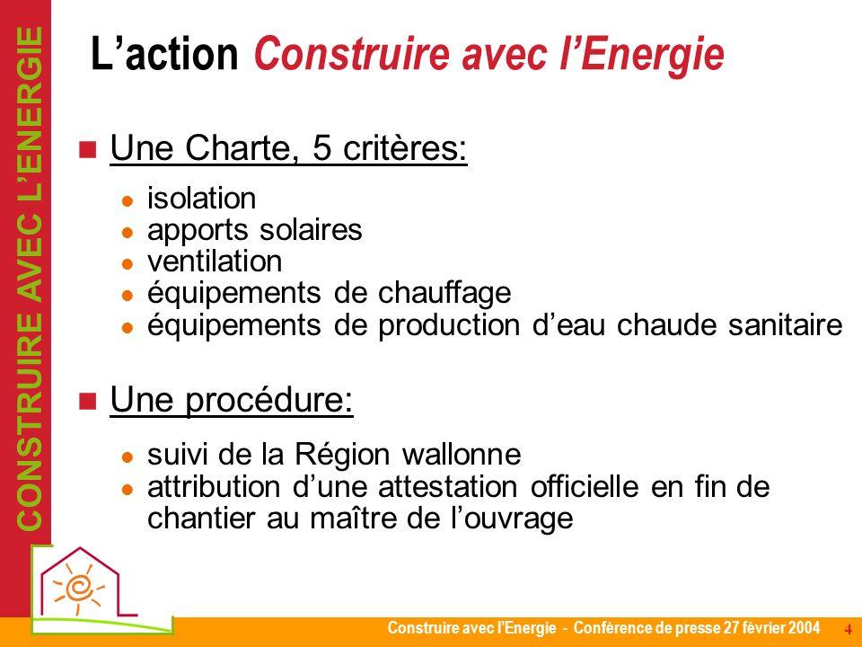 Construire avec lEnergie - Conférence de presse 27 février 2004 4 Une Charte, 5 critères: isolation apports solaires ventilation équipements de chauff