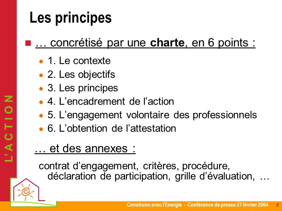 Construire avec lEnergie - Conférence de presse 27 février 2004 5 … concrétisé par une charte, en 6 points : 1. Le contexte 2. Les objectifs 3. Les pr