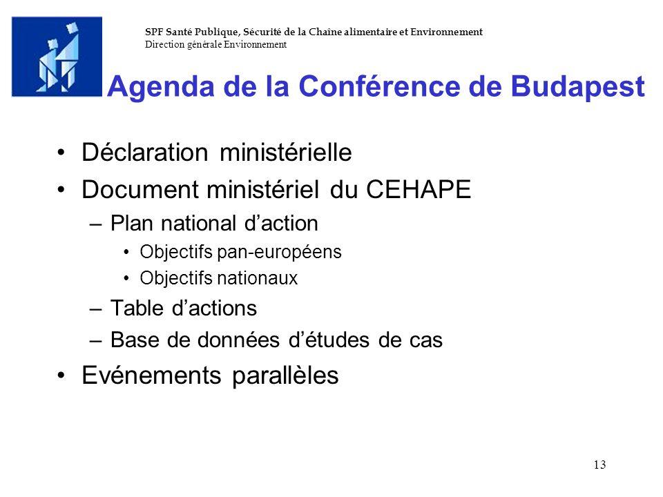SPF Santé Publique, Sécurité de la Chaîne alimentaire et Environnement Direction générale Environnement 13 Agenda de la Conférence de Budapest Déclara