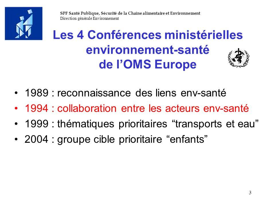 SPF Santé Publique, Sécurité de la Chaîne alimentaire et Environnement Direction générale Environnement 3 Les 4 Conférences ministérielles environneme