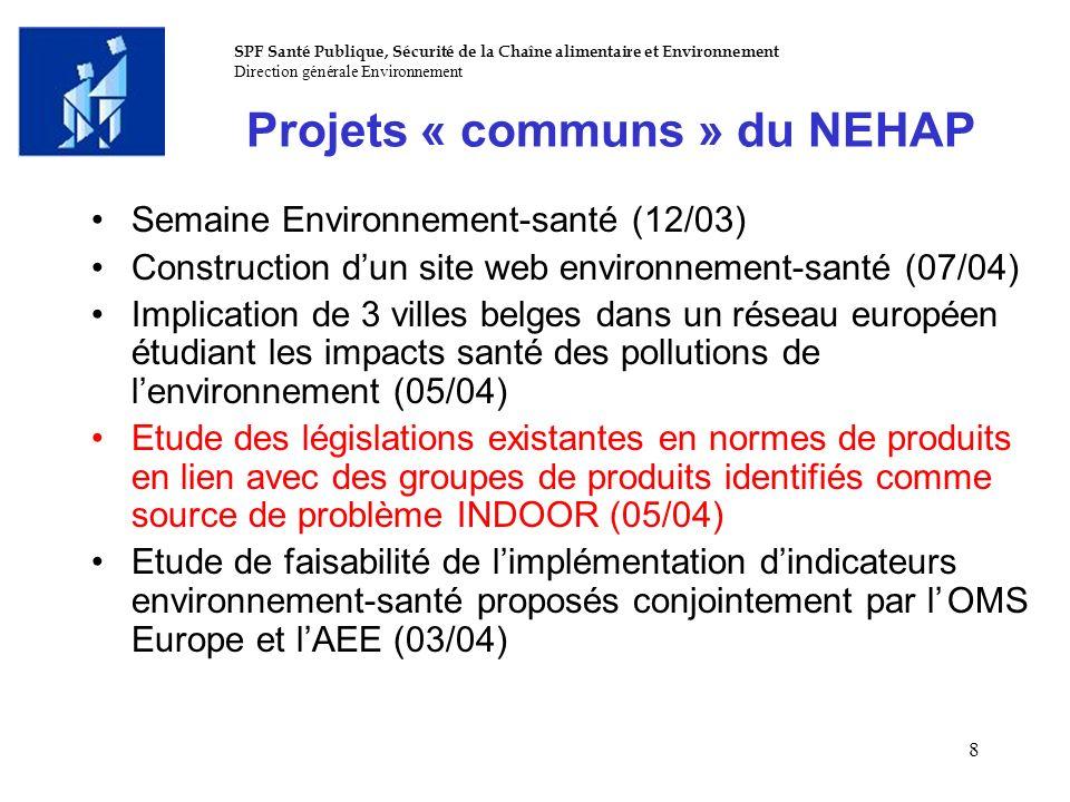 SPF Santé Publique, Sécurité de la Chaîne alimentaire et Environnement Direction générale Environnement 8 Projets « communs » du NEHAP Semaine Environ