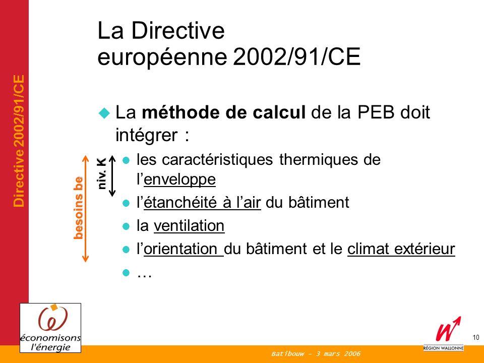 Batibouw - 3 mars 2006 10 La Directive européenne 2002/91/CE La méthode de calcul de la PEB doit intégrer : les caractéristiques thermiques de lenveloppe létanchéité à lair du bâtiment la ventilation lorientation du bâtiment et le climat extérieur … niv.