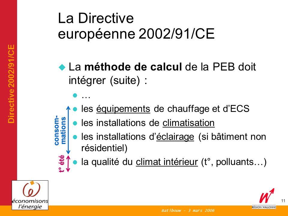 Batibouw - 3 mars 2006 11 La Directive européenne 2002/91/CE La méthode de calcul de la PEB doit intégrer (suite) : … les équipements de chauffage et dECS les installations de climatisation les installations déclairage (si bâtiment non résidentiel) la qualité du climat intérieur (t°, polluants…) Directive 2002/91/CE consom- mations t° été