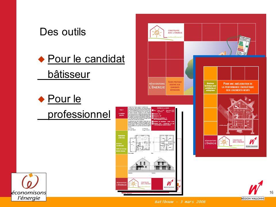 Batibouw - 3 mars 2006 16 Des outils Pour le candidat bâtisseur Pour le professionnel