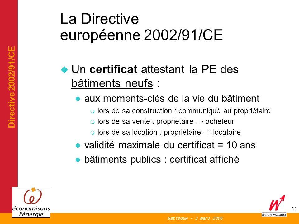 Batibouw - 3 mars 2006 17 La Directive européenne 2002/91/CE Un certificat attestant la PE des bâtiments neufs : aux moments-clés de la vie du bâtiment m lors de sa construction : communiqué au propriétaire lors de sa vente : propriétaire acheteur lors de sa location : propriétaire locataire validité maximale du certificat = 10 ans bâtiments publics : certificat affiché Directive 2002/91/CE
