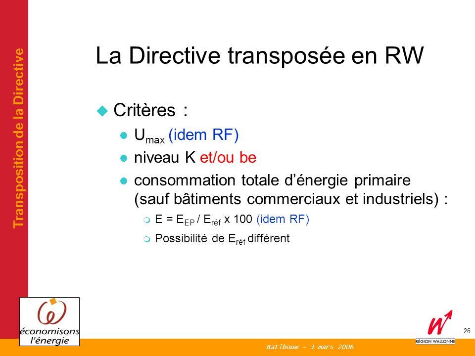 Batibouw - 3 mars 2006 26 La Directive transposée en RW Critères : U max (idem RF) niveau K et/ou be consommation totale dénergie primaire (sauf bâtiments commerciaux et industriels) : m E = E EP / E réf x 100 (idem RF) m Possibilité de E réf différent Transposition de la Directive