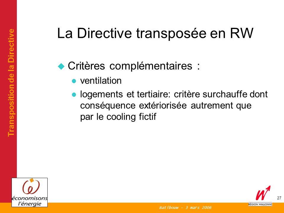 Batibouw - 3 mars 2006 27 La Directive transposée en RW Critères complémentaires : ventilation logements et tertiaire: critère surchauffe dont conséquence extériorisée autrement que par le cooling fictif Transposition de la Directive