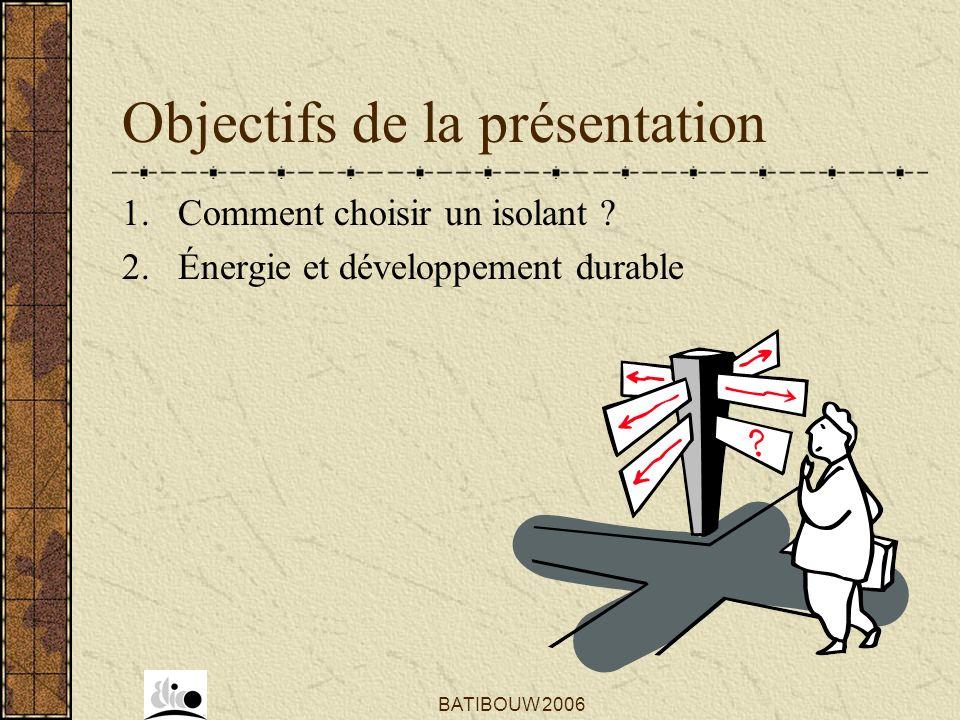 BATIBOUW 2006 Objectifs de la présentation 1. Comment choisir un isolant ? 2. Énergie et développement durable