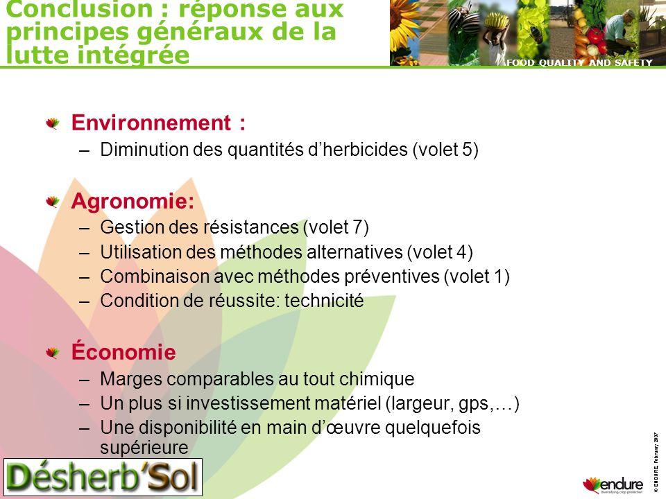 © ENDURE, February 2007 FOOD QUALITY AND SAFETY © ENDURE, February 2007 FOOD QUALITY AND SAFETY Conclusion : réponse aux principes généraux de la lutt