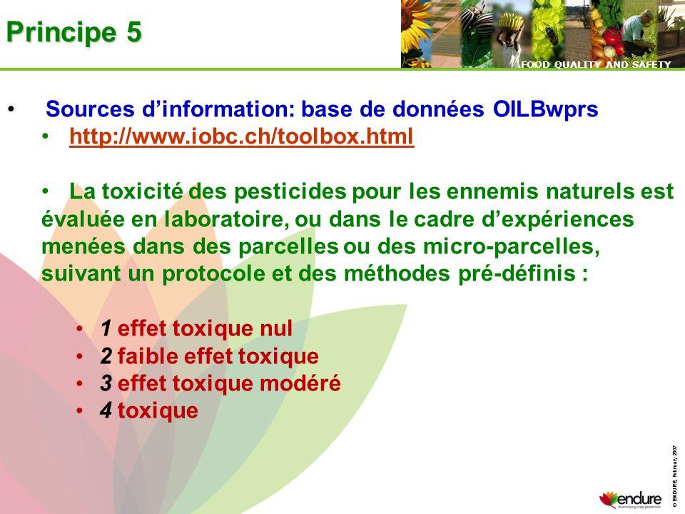 © ENDURE, February 2007 FOOD QUALITY AND SAFETY © ENDURE, February 2007 FOOD QUALITY AND SAFETY Principe 5 Sources dinformation: base de données OILBw