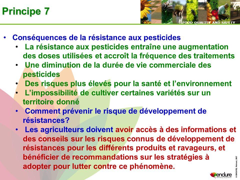 © ENDURE, February 2007 FOOD QUALITY AND SAFETY © ENDURE, February 2007 FOOD QUALITY AND SAFETY Principe 7 Conséquences de la résistance aux pesticide