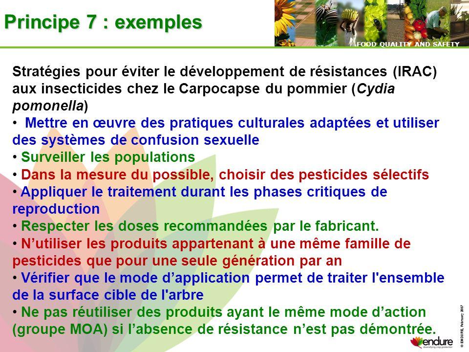 © ENDURE, February 2007 FOOD QUALITY AND SAFETY © ENDURE, February 2007 FOOD QUALITY AND SAFETY Principe 7 : exemples Stratégies pour éviter le dévelo