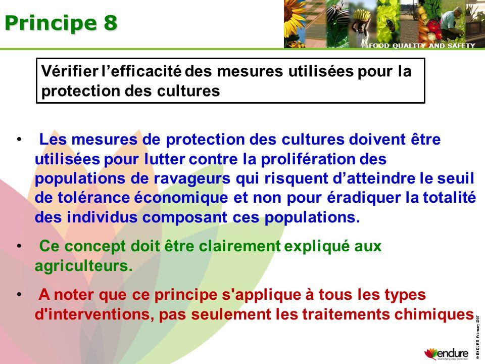 © ENDURE, February 2007 FOOD QUALITY AND SAFETY © ENDURE, February 2007 FOOD QUALITY AND SAFETY Principe 8 Vérifier lefficacité des mesures utilisées
