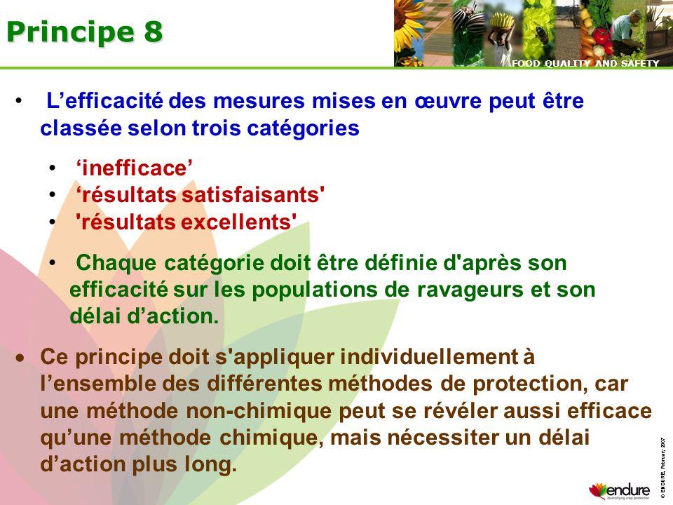 © ENDURE, February 2007 FOOD QUALITY AND SAFETY © ENDURE, February 2007 FOOD QUALITY AND SAFETY Principe 8 Lefficacité des mesures mises en œuvre peut