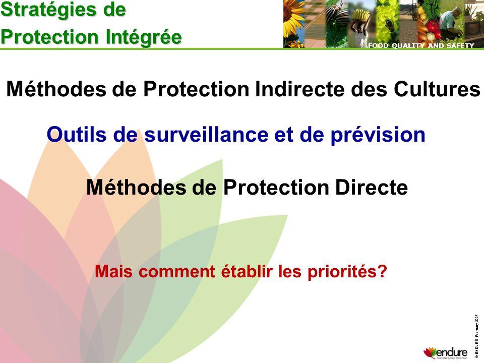 © ENDURE, February 2007 FOOD QUALITY AND SAFETY © ENDURE, February 2007 FOOD QUALITY AND SAFETY Stratégies de Protection Intégrée Méthodes de Protecti