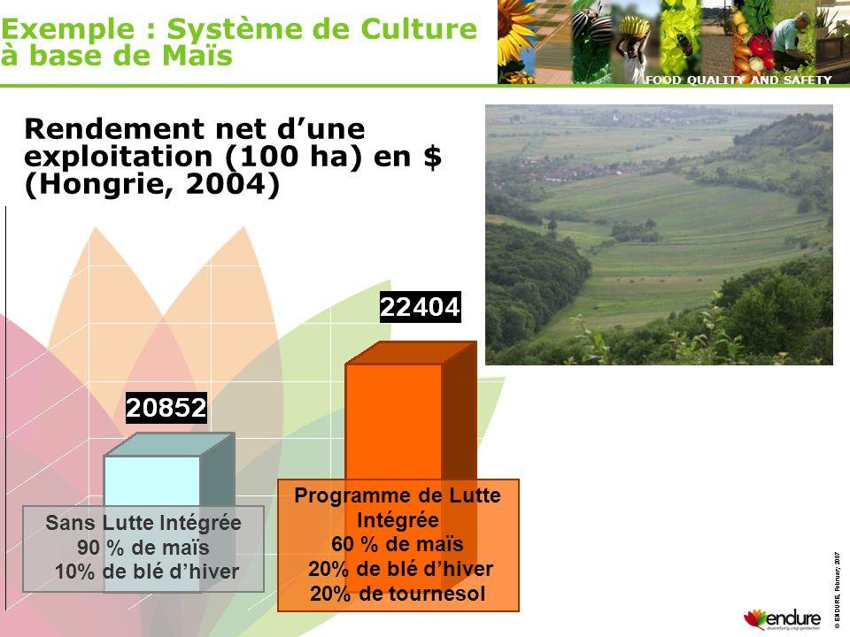 © ENDURE, February 2007 FOOD QUALITY AND SAFETY © ENDURE, February 2007 FOOD QUALITY AND SAFETY Sans Lutte Intégrée 90 % de maïs 10% de blé dhiver Pro
