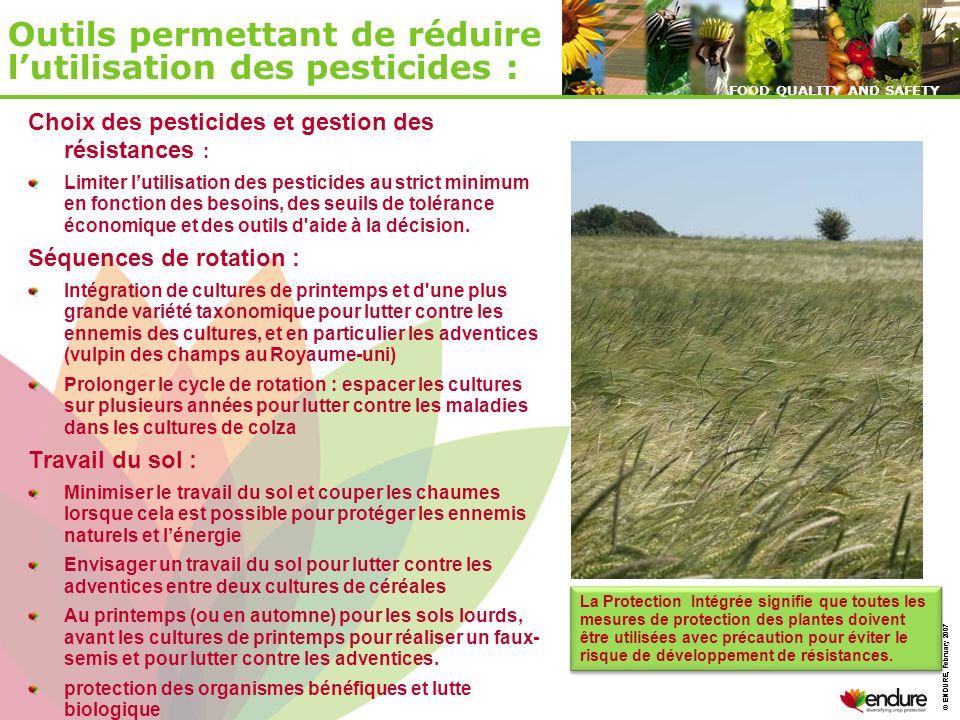 © ENDURE, February 2007 FOOD QUALITY AND SAFETY © ENDURE, February 2007 FOOD QUALITY AND SAFETY Outils permettant de réduire lutilisation des pesticid