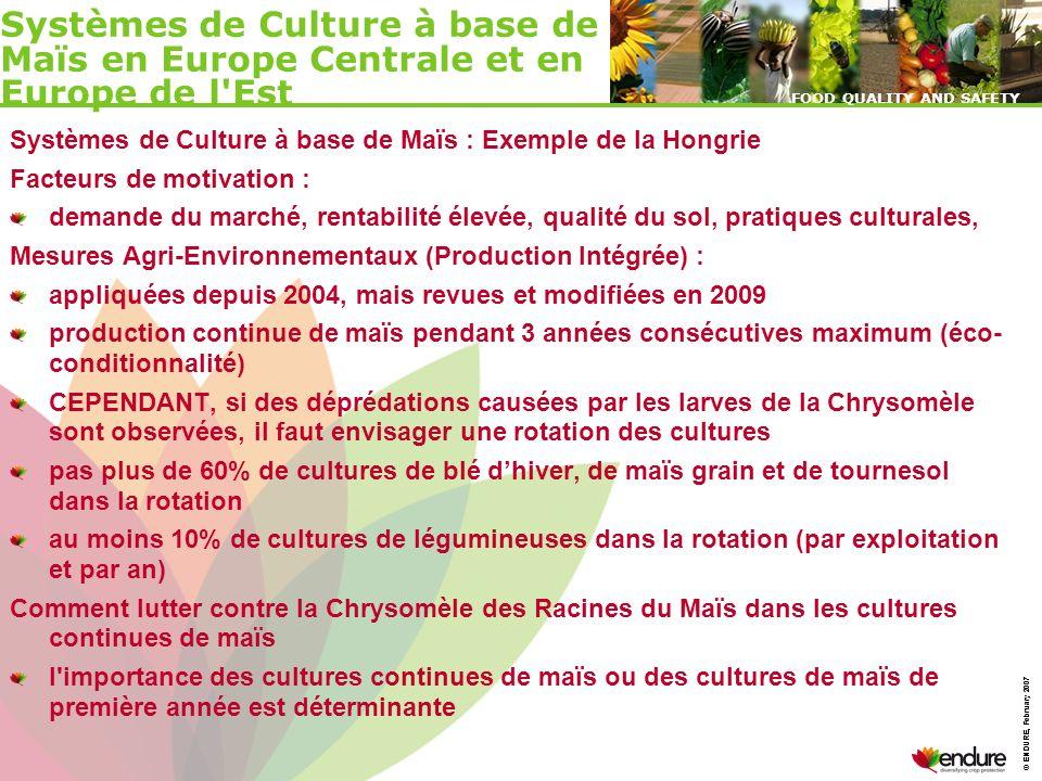 © ENDURE, February 2007 FOOD QUALITY AND SAFETY © ENDURE, February 2007 FOOD QUALITY AND SAFETY Systèmes de Culture à base de Maïs : Exemple de la Hon
