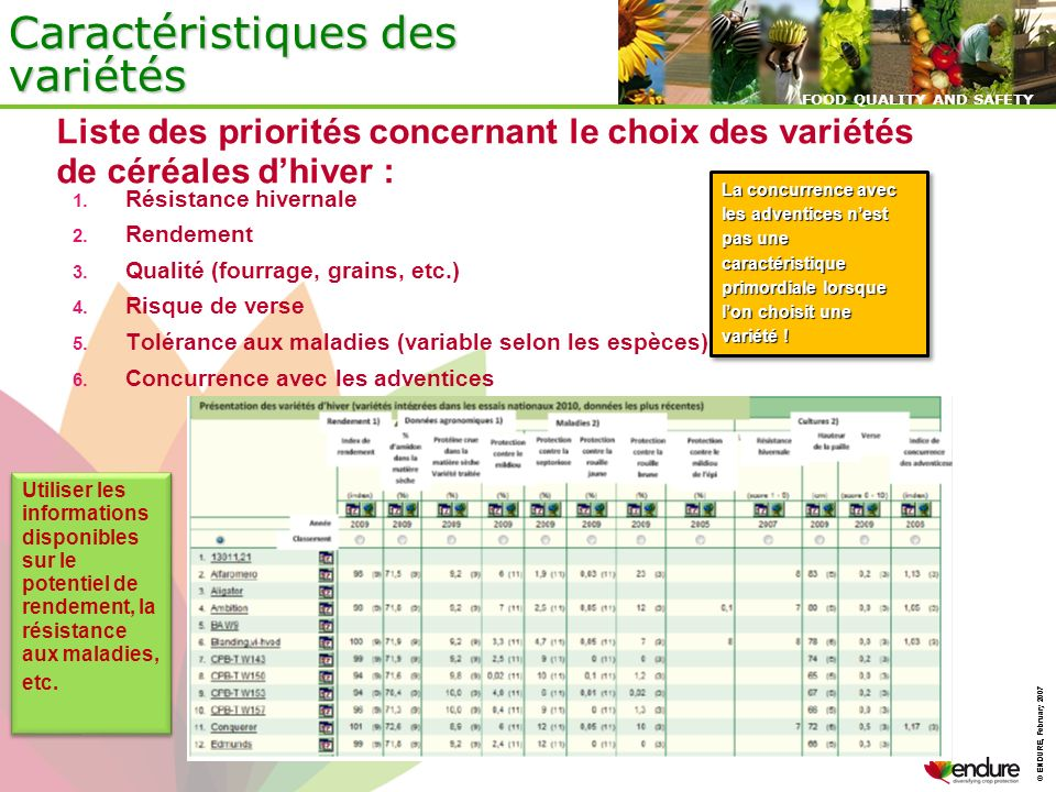© ENDURE, February 2007 FOOD QUALITY AND SAFETY © ENDURE, February 2007 FOOD QUALITY AND SAFETY Caractéristiques des variétés Utiliser les information