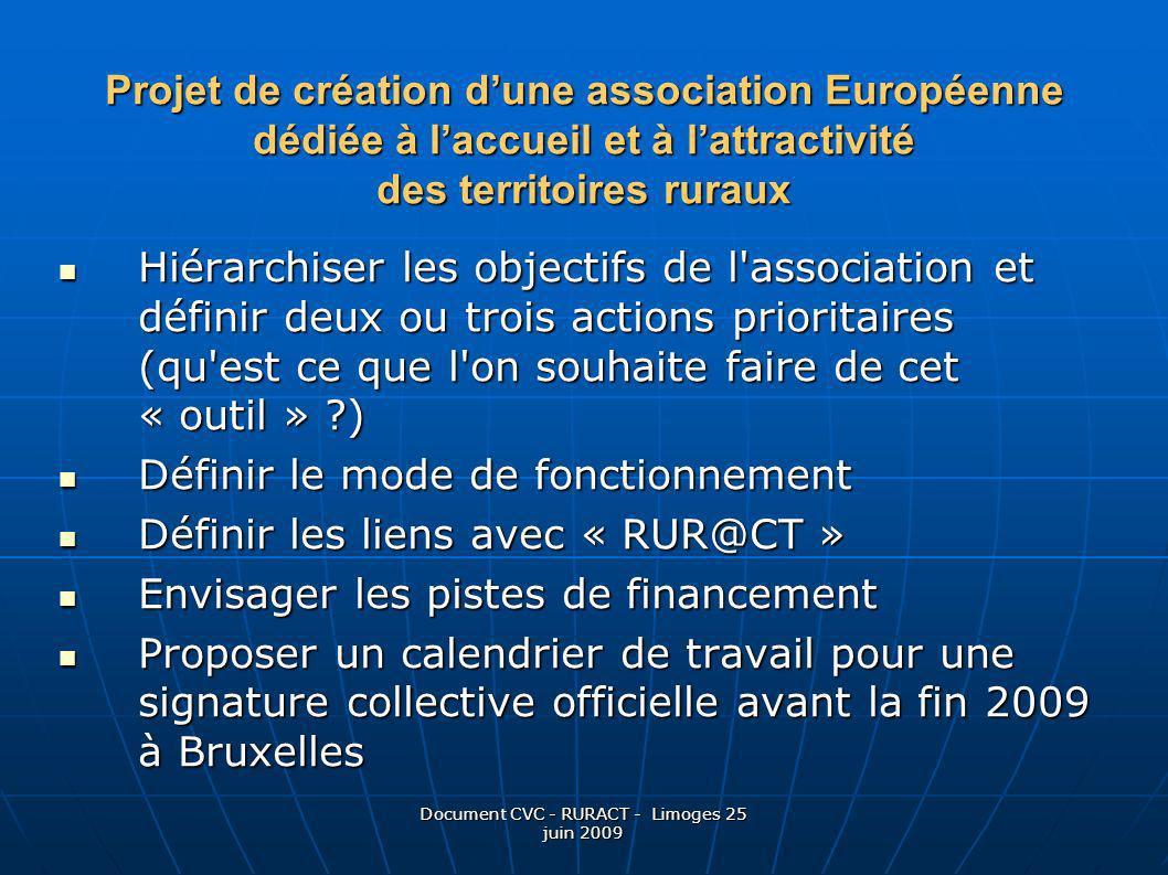 Document CVC - RURACT - Limoges 25 juin 2009 Projet de création dune association Européenne dédiée à laccueil et à lattractivité des territoires rurau