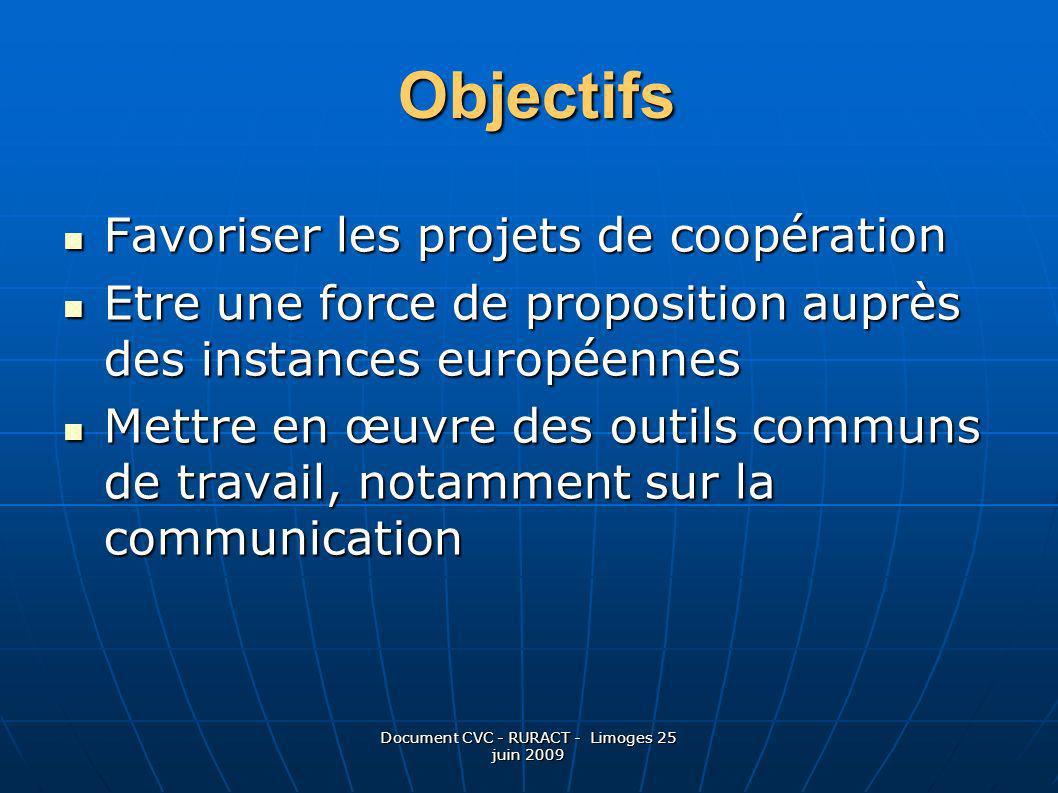 Document CVC - RURACT - Limoges 25 juin 2009 Favoriser les projets de coopération Favoriser les projets de coopération Etre une force de proposition a
