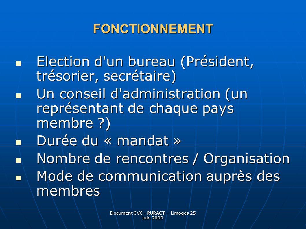 Document CVC - RURACT - Limoges 25 juin 2009 FONCTIONNEMENT Election d'un bureau (Président, trésorier, secrétaire) Election d'un bureau (Président, t