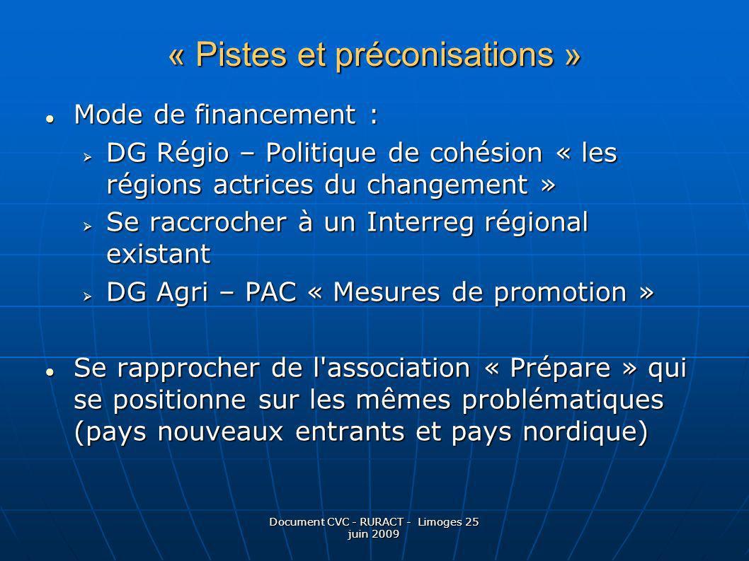 Document CVC - RURACT - Limoges 25 juin 2009 Mode de financement : Mode de financement : DG Régio – Politique de cohésion « les régions actrices du ch