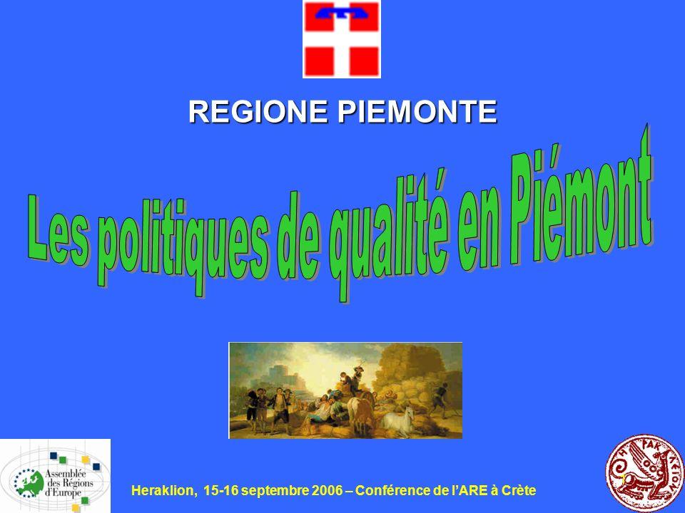 Heraklion, 15-16 septembre 2006 – Conférence de lARE à Crète 12 Les principales productions de lagriculture piemontaise dans le 2004 (le 2005 a été mauvais pour la sécheresse)