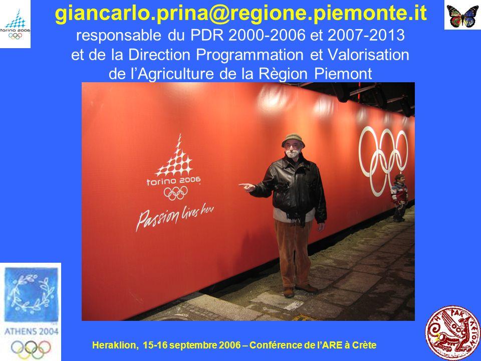 Heraklion, 15-16 septembre 2006 – Conférence de lARE à Crète 2 giancarlo.prina@regione.piemonte.it responsable du PDR 2000-2006 et 2007-2013 et de la Direction Programmation et Valorisation de lAgriculture de la Règion Piemont