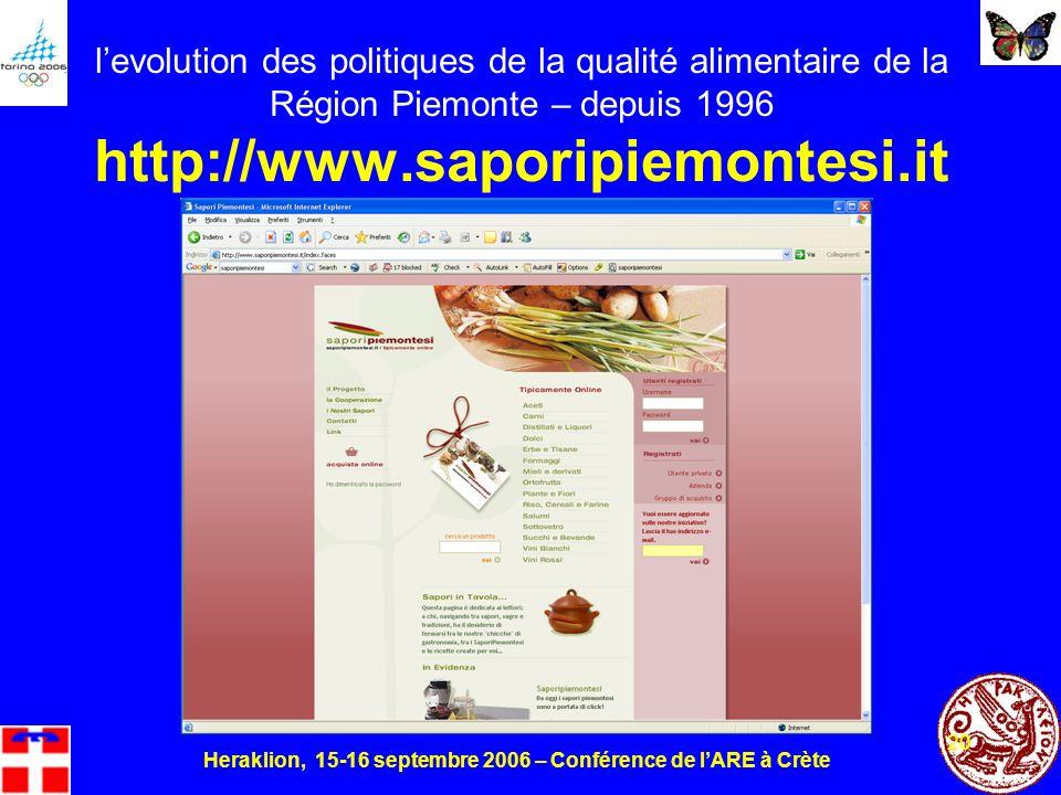 Heraklion, 15-16 septembre 2006 – Conférence de lARE à Crète 20 levolution des politiques de la qualité alimentaire de la Région Piemonte – depuis 1996 http://www.saporipiemontesi.it