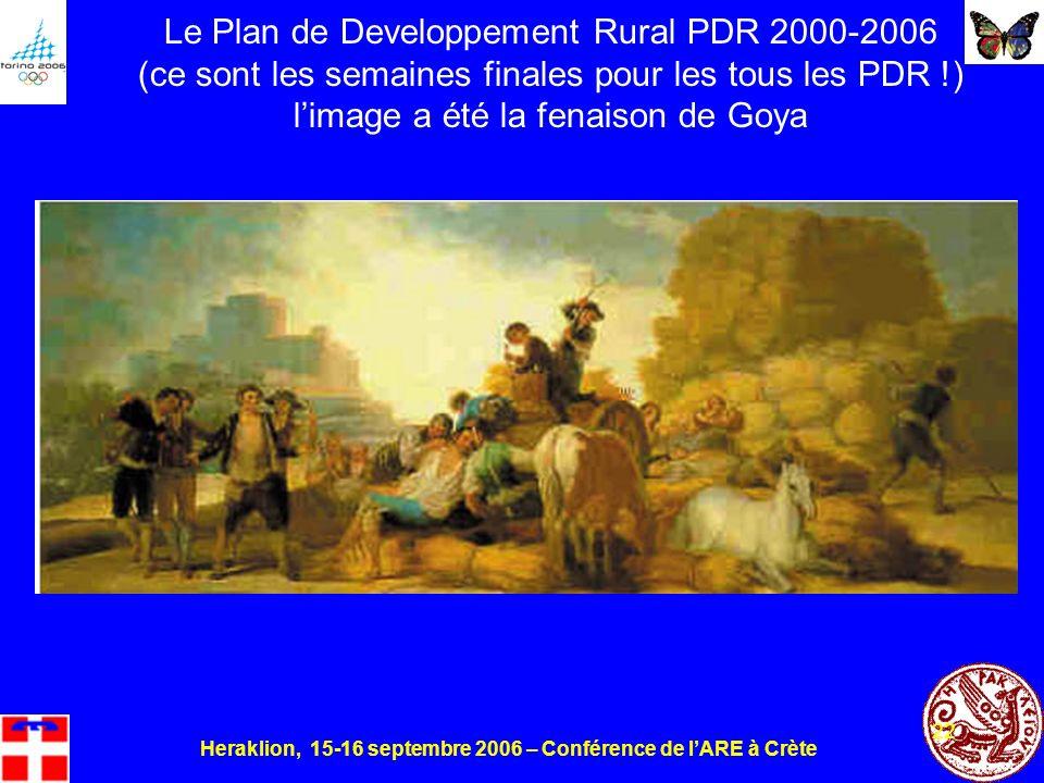 Heraklion, 15-16 septembre 2006 – Conférence de lARE à Crète 22 Le Plan de Developpement Rural PDR 2000-2006 (ce sont les semaines finales pour les tous les PDR !) limage a été la fenaison de Goya