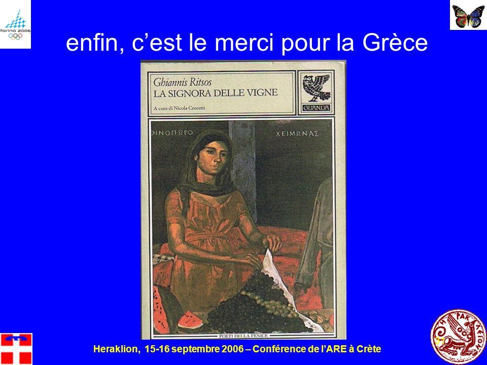 Heraklion, 15-16 septembre 2006 – Conférence de lARE à Crète 31 enfin, cest le merci pour la Grèce