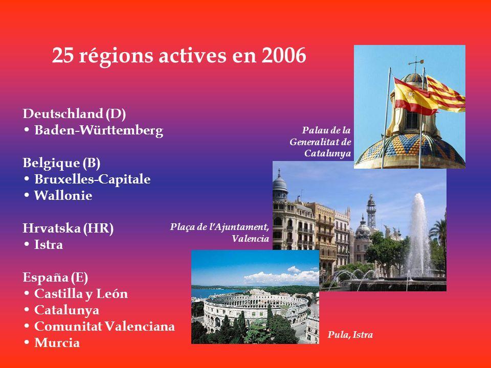 25 régions actives en 2006 Deutschland (D) Baden-Württemberg Belgique (B) Bruxelles-Capitale Wallonie Hrvatska (HR) Istra España (E) Castilla y León C