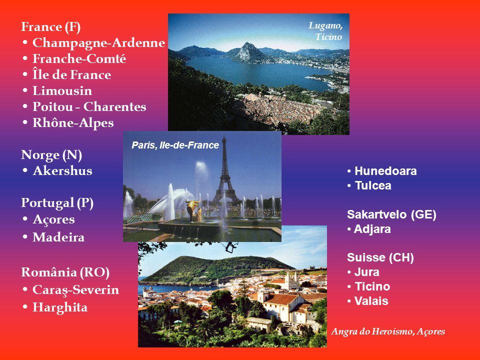 Angra do Heroismo, Açores France (F) Champagne-Ardenne Franche-Comté Île de France Limousin Poitou - Charentes Rhône-Alpes Norge (N) Akershus Portugal