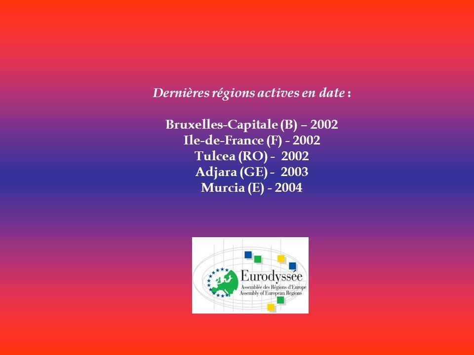 Dernières régions actives en date : Bruxelles-Capitale (B) – 2002 Ile-de-France (F) - 2002 Tulcea (RO) - 2002 Adjara (GE) - 2003 Murcia (E) - 2004