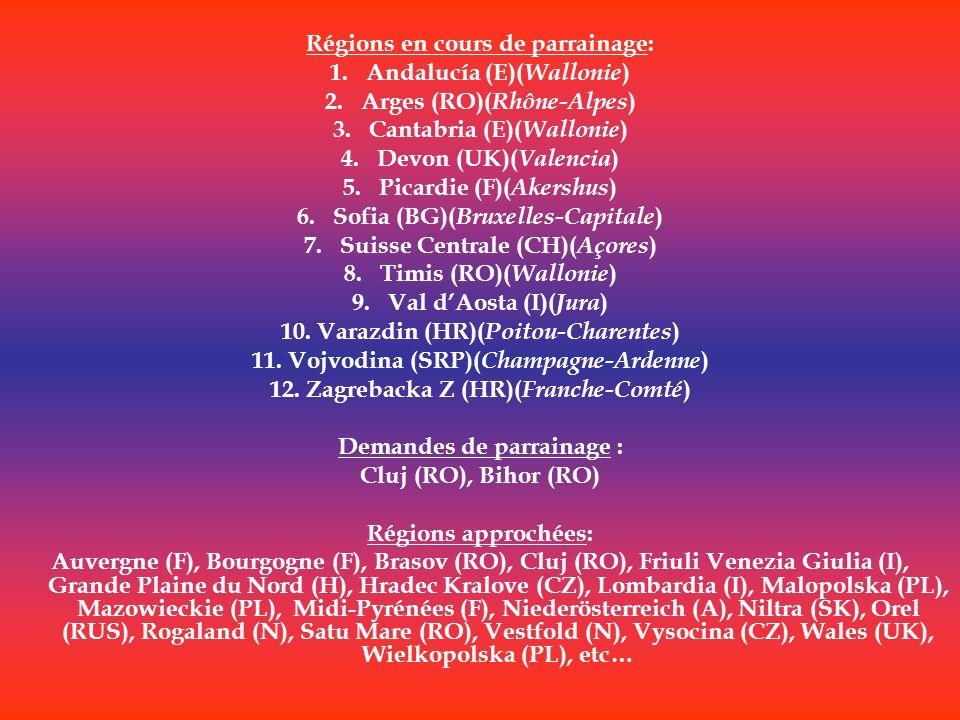 Régions en cours de parrainage: 1.Andalucía (E)( Wallonie ) 2.Arges (RO)( Rhône-Alpes ) 3.Cantabria (E)( Wallonie ) 4.Devon (UK)( Valencia ) 5.Picardi