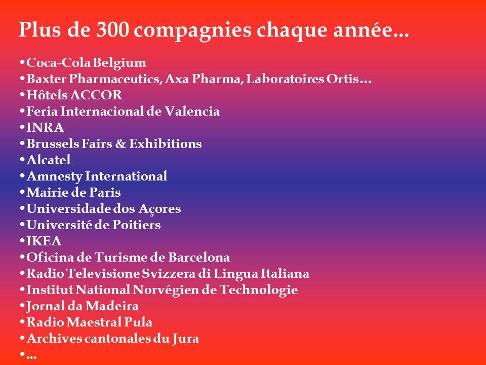 Plus de 300 compagnies chaque année... Coca-Cola Belgium Baxter Pharmaceutics, Axa Pharma, Laboratoires Ortis… Hôtels ACCOR Feria Internacional de Val