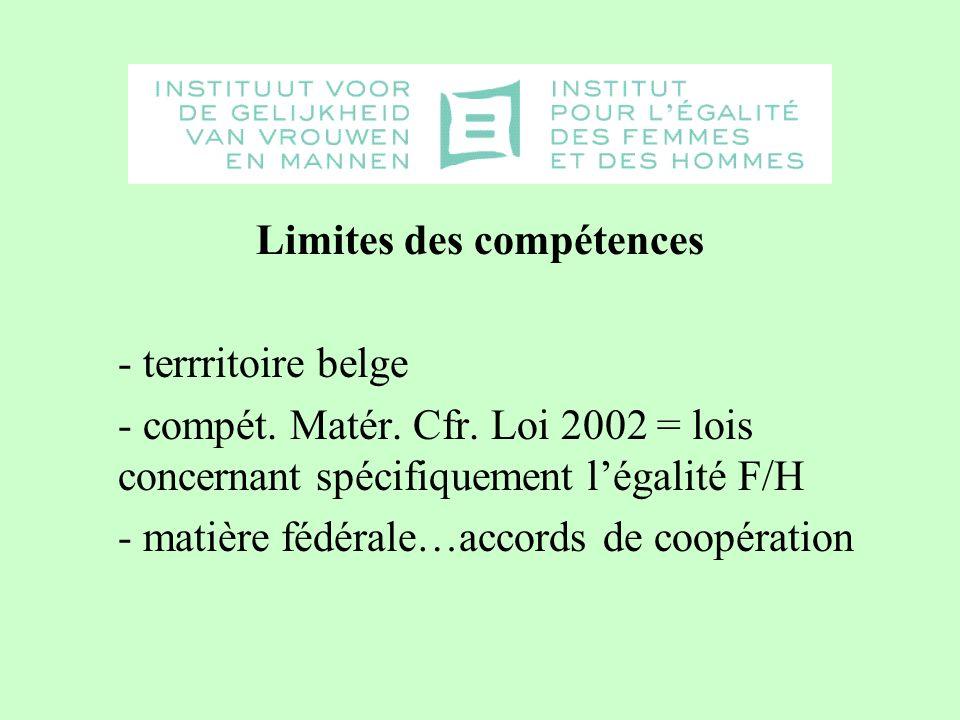 Limites des compétences - terrritoire belge - compét.