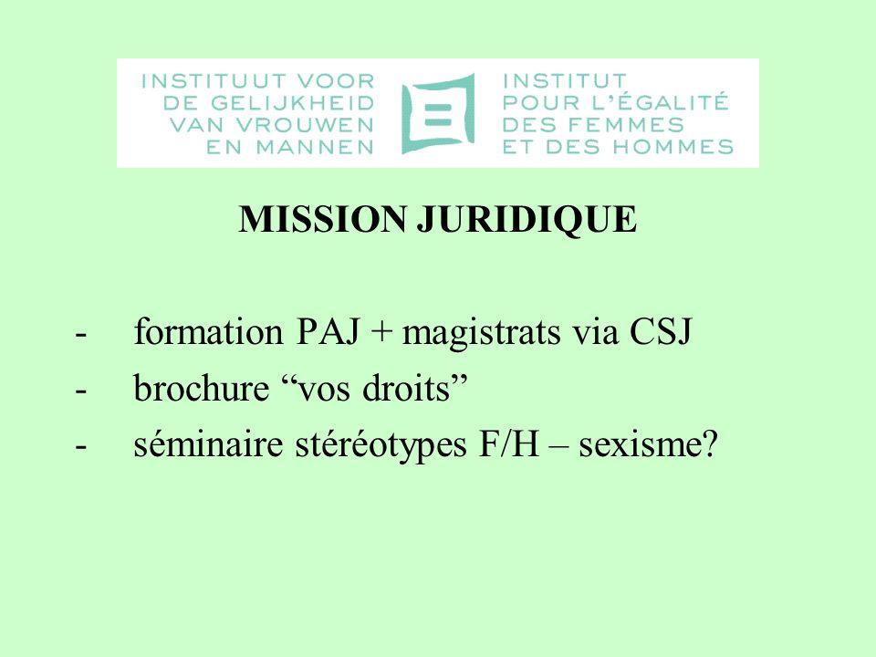 MISSION JURIDIQUE -formation PAJ + magistrats via CSJ -brochure vos droits -séminaire stéréotypes F/H – sexisme