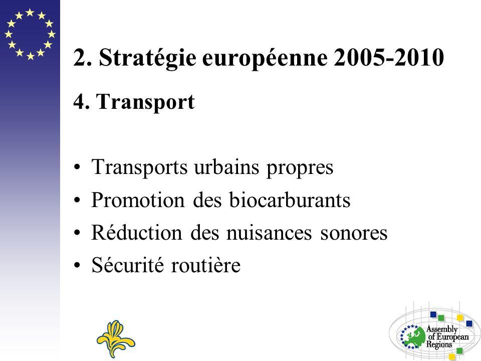 2. Stratégie européenne 2005-2010 4. Transport Transports urbains propres Promotion des biocarburants Réduction des nuisances sonores Sécurité routièr