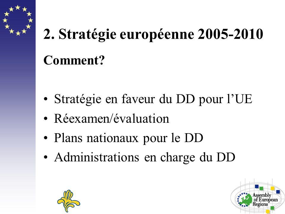 2. Stratégie européenne 2005-2010 Comment? Stratégie en faveur du DD pour lUE Réexamen/évaluation Plans nationaux pour le DD Administrations en charge