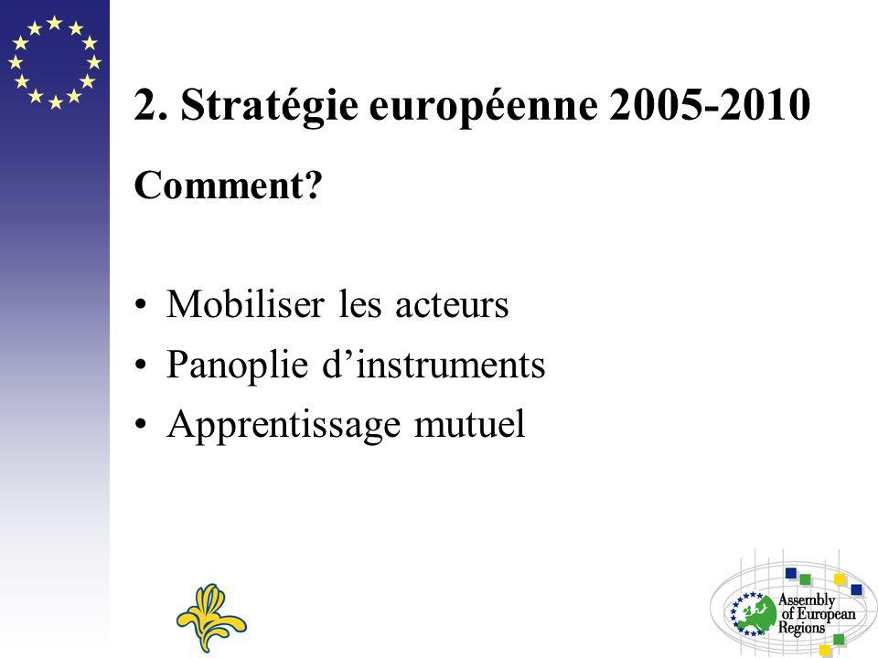 2. Stratégie européenne 2005-2010 Comment? Mobiliser les acteurs Panoplie dinstruments Apprentissage mutuel
