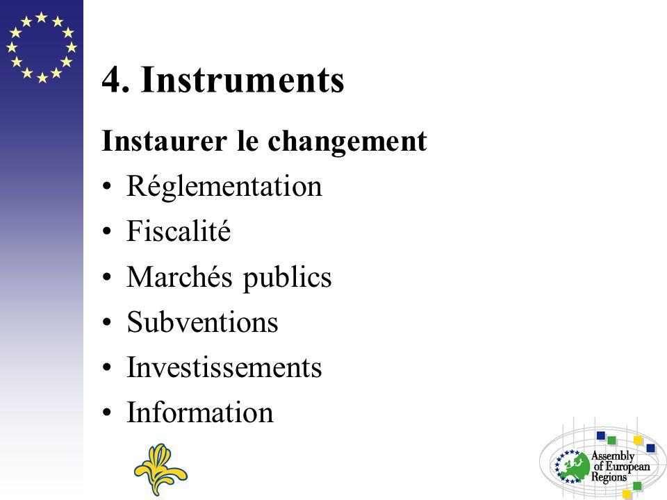 4. Instruments Instaurer le changement Réglementation Fiscalité Marchés publics Subventions Investissements Information