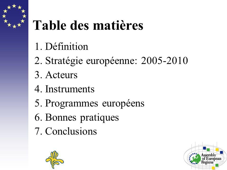 Table des matières 1. Définition 2. Stratégie européenne: 2005-2010 3. Acteurs 4. Instruments 5. Programmes européens 6. Bonnes pratiques 7. Conclusio