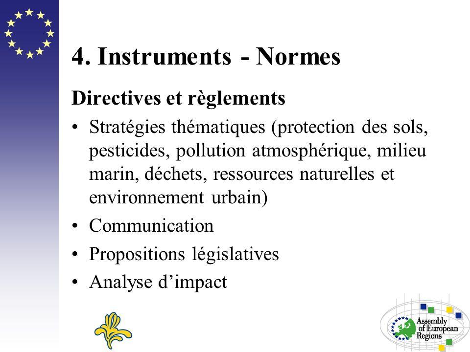 4. Instruments - Normes Directives et règlements Stratégies thématiques (protection des sols, pesticides, pollution atmosphérique, milieu marin, déche